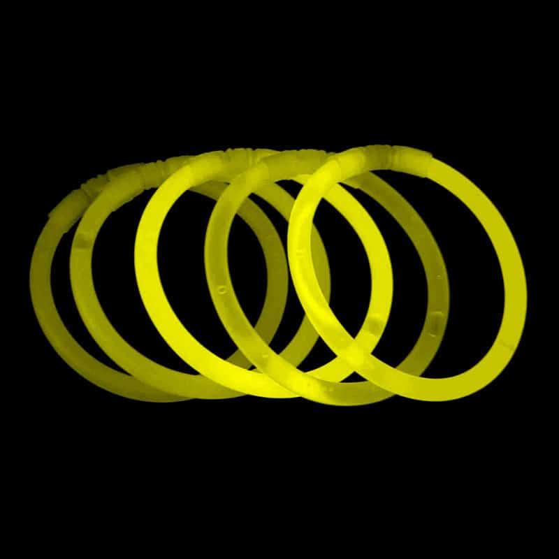Gule knæklys, 100 knæklys, ensfarvede knæklys, Gule ensfarvede knæklys armbånd
