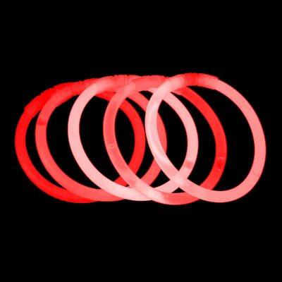Røde knæklys, 100 knæklys, ensfarvede knæklys, Røde ensfarvede knæklys armbånd