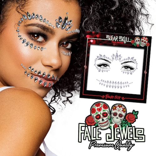 Halloween Face Jewels - Sugar Skull eksempel
