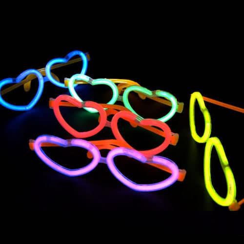 Knæklys hjerte briller